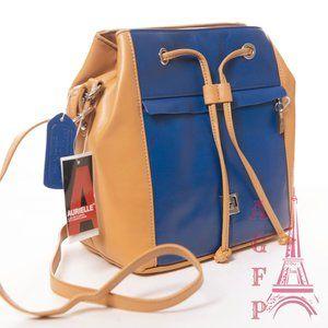 Aurielle two tone leather crossbody bucket bag
